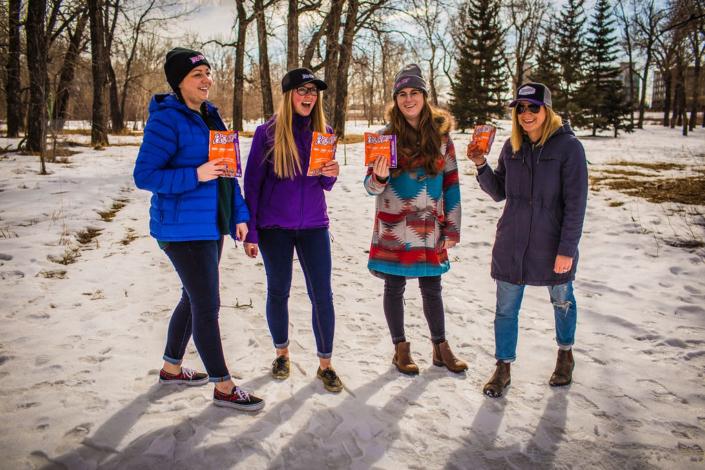 Four Girls enjoying Big Chief Canadian Jerky